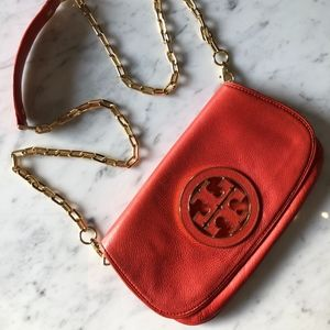 Tory Burch Red Leather Logo Clutch with Gold Chain